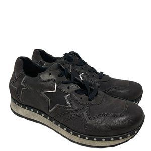 Khrio Star Cutout Leather & Suede Distressed Brown Sneakers Size 38 US 8